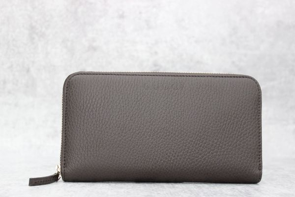 Gucci Dark Brown Pebbled Leather Zip Around Wallet