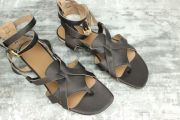 Hermes NEW Genese Veau Strappy Gladiator Thong Sandals 37