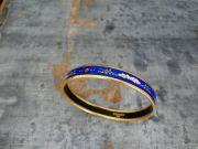 Hermes Blue Enamel Gold Plate COSMOS Bangle