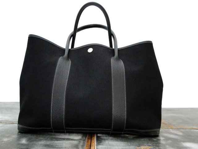 hermes black canvas leather garden party pm tote bag. Black Bedroom Furniture Sets. Home Design Ideas
