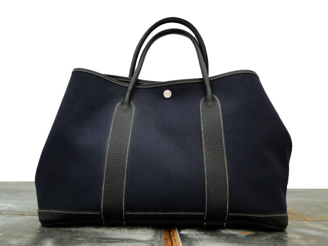 Hermes Navy Garden Party Pm Tote Bag