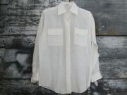 Hermes Off White Button Down Linen Shirt 38 8