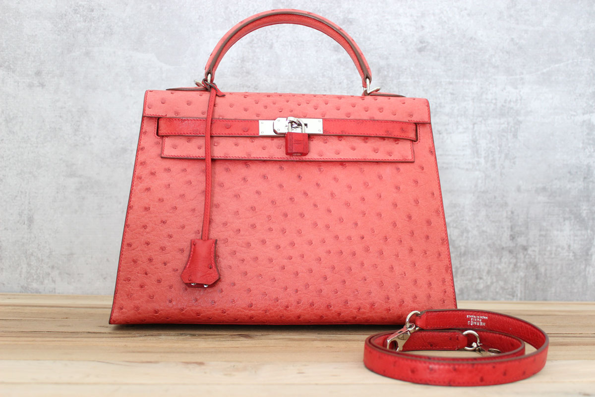 7b30907f6a Hermes Red Ostrich 32cm KELLY Bag Palladium. Tap to expand