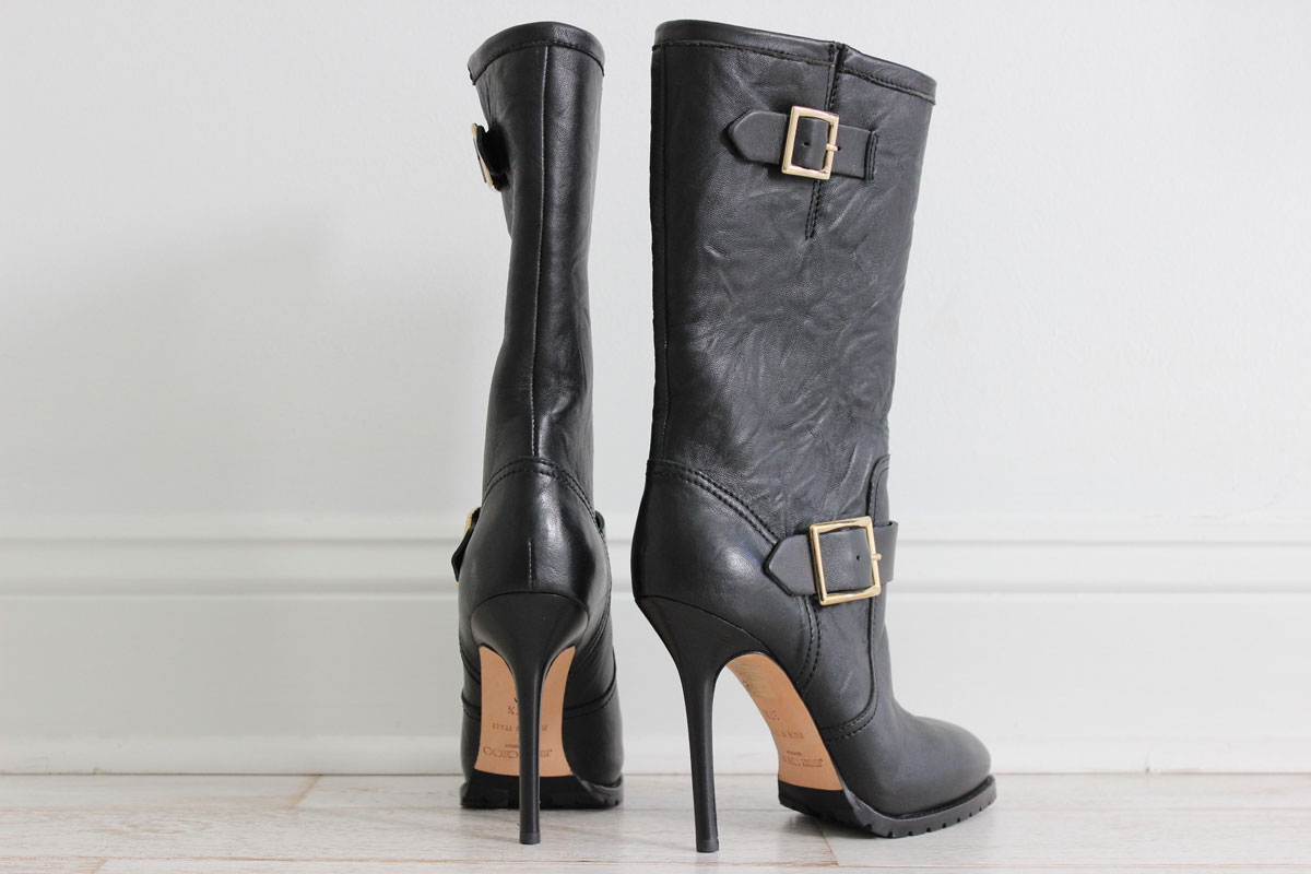 Jimmy Choo Black Leather Motorcycle Galen Stiletto Boots
