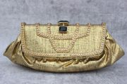 Jimmy Choo Gold Textured Leather Clutch