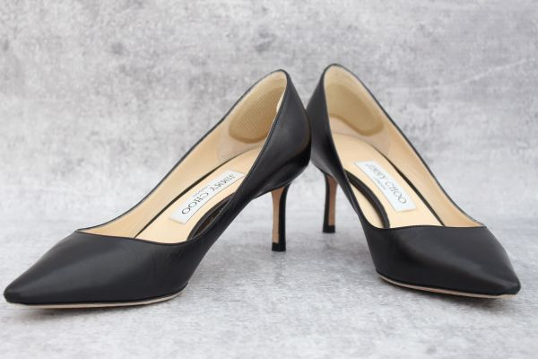 Jimmy Choo Black Leather Romy 60 Pumps