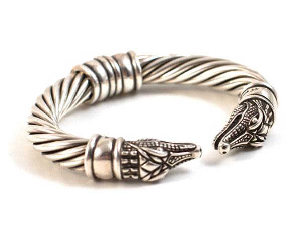 Sterling Silver Cable Hinged Gator Bangle Bracelet. Marked B