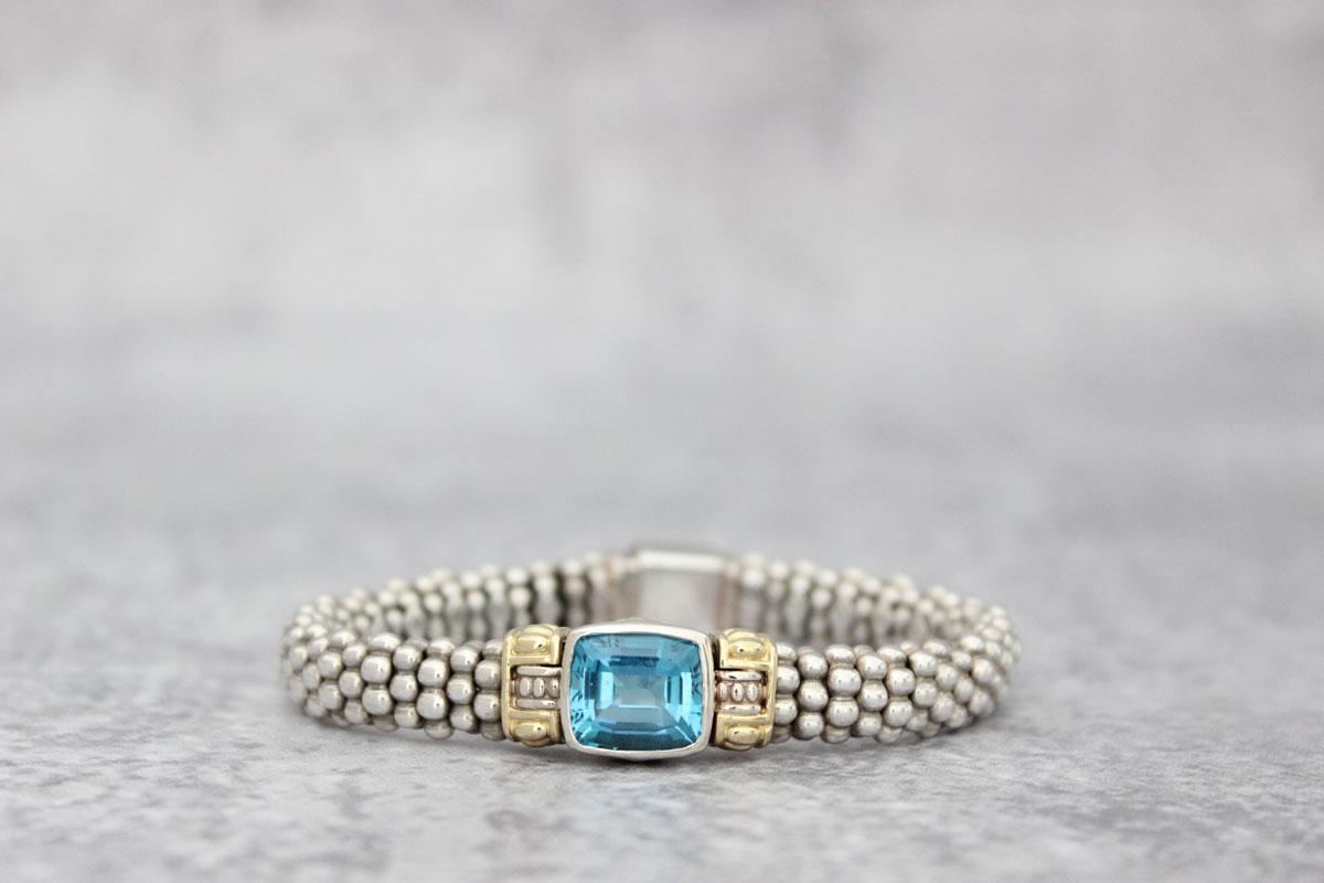 Lagos Sterling Amp 18kt Yellow Gold Caviar Blue Topaz Bracelet