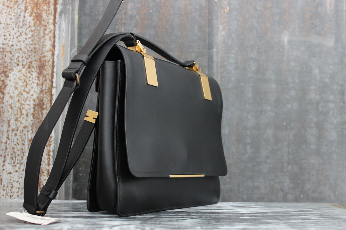aa85607020e0 Lanvin MADAME Black Structured Leather Shoulder Bag