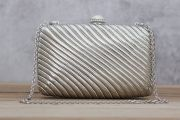 Judith Leiber Silver Metal & Crystal Minaudiere Clutch