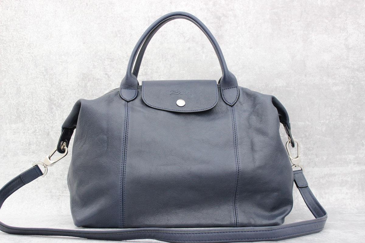 fb9de874b46f Longchamp Le Pliage Cuir Navy Blue Leather Bag at Jill s Consignment
