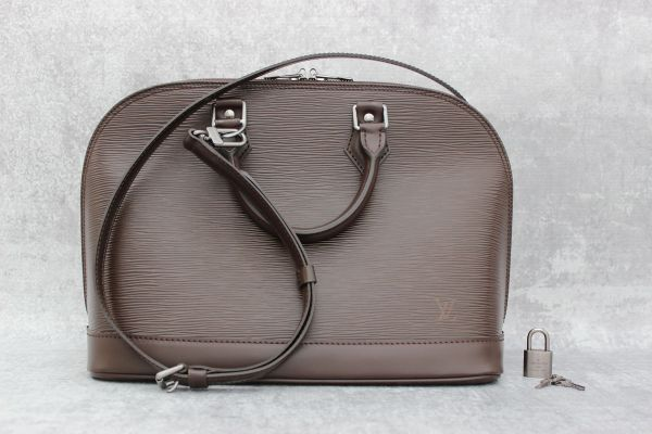 Louis Vuitton Brown Epi Alma PM with Strap