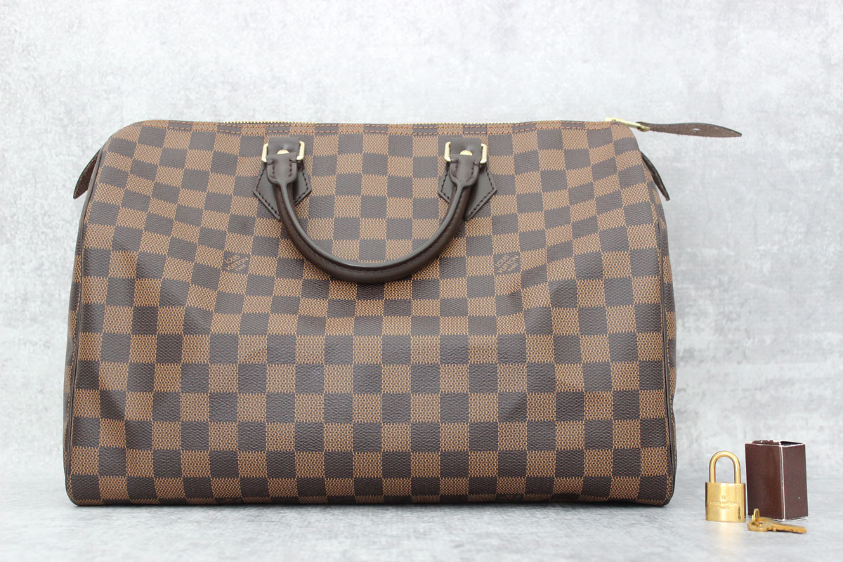 louis vuitton speedy damier date code Louis vuitton monogram canvas, damier ebene and a 2008 epi speedy bag and there was a date code repairs rendered to my briefcases and totes from louis.