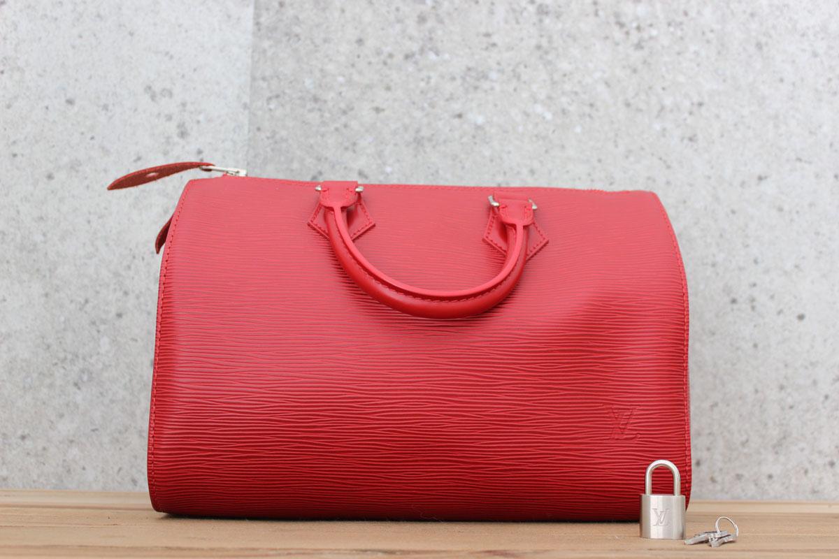 5ddbd534af Louis Vuitton NEW Red Epi SPEEDY 25 Silver Hardware