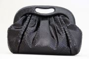 Nancy Gonzalez Black Snakeskin Clutch
