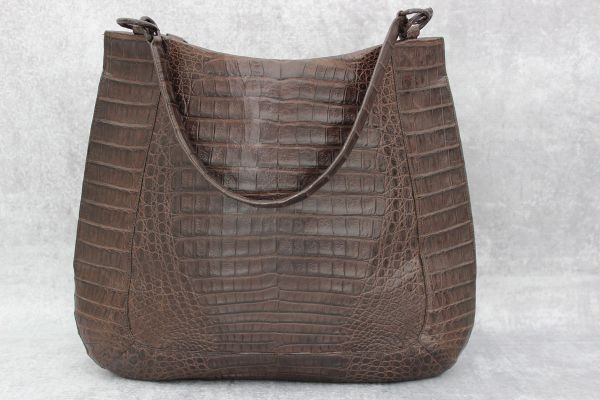 Nancy Gonzalez Crocodile Medium Double Strap Hobo Brown