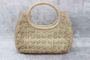 Nancy Gonzalez Gold Woven Crocodile Round Handle Tote