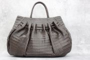 Nancy Gonzalez Brown Large Pleated Crocodile Tote ON HOLD
