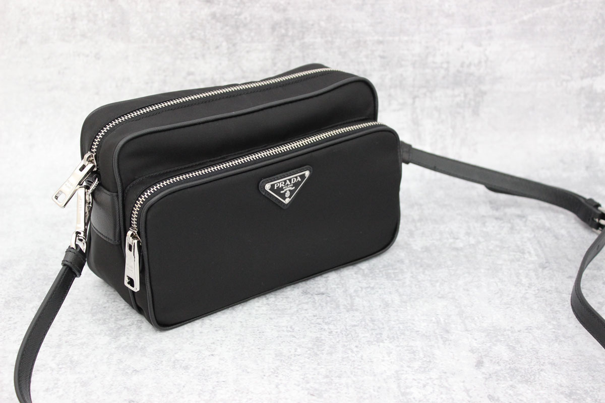 prada chain crossbody wallet - Prada black nylon \u0026amp; leather crossbody camera bag at Jill\u0026#39;s Consignment