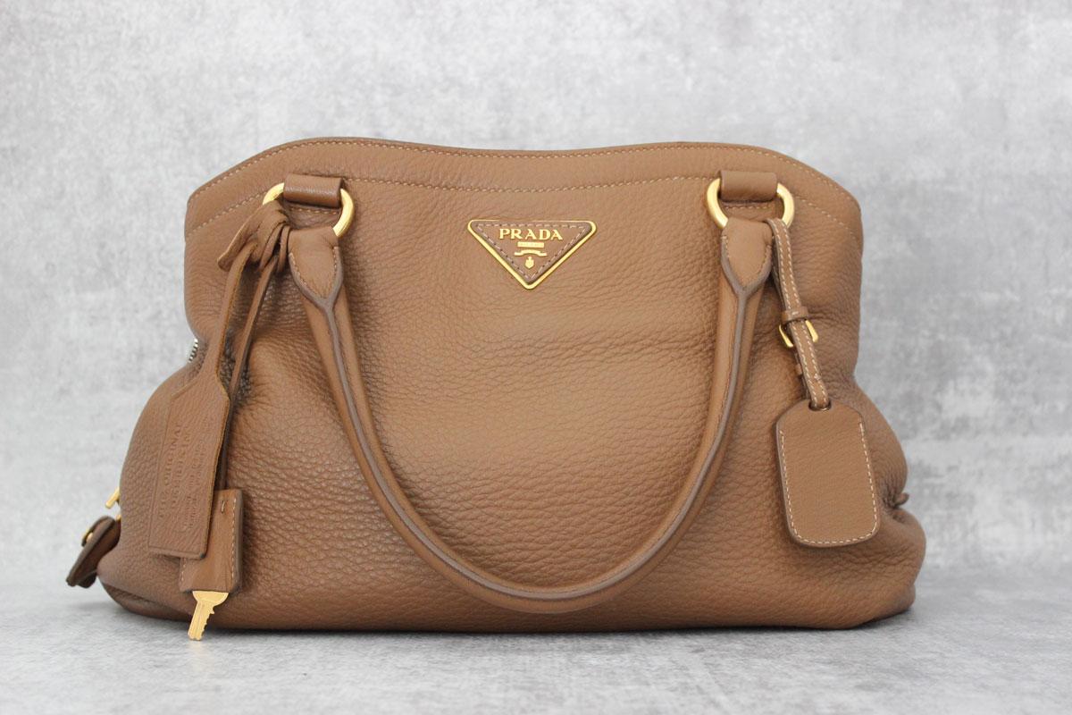 Prada Brown Cervo Deerskin Shoulder Bag Tap To Expand