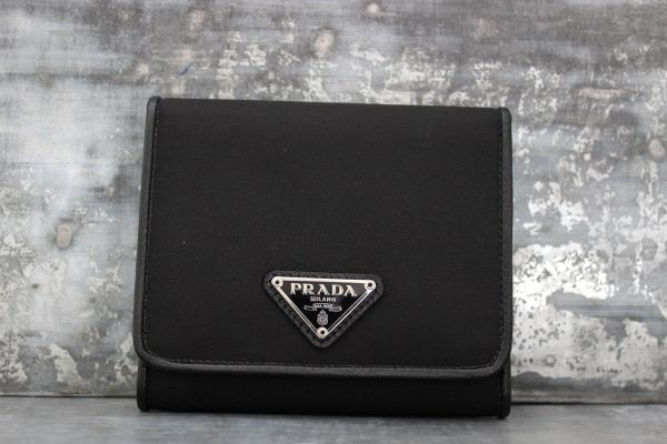 Prada Black Nylon & Leather Trifold Compact Wallet