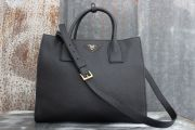 Prada Daino Twin Pocket Tote Black