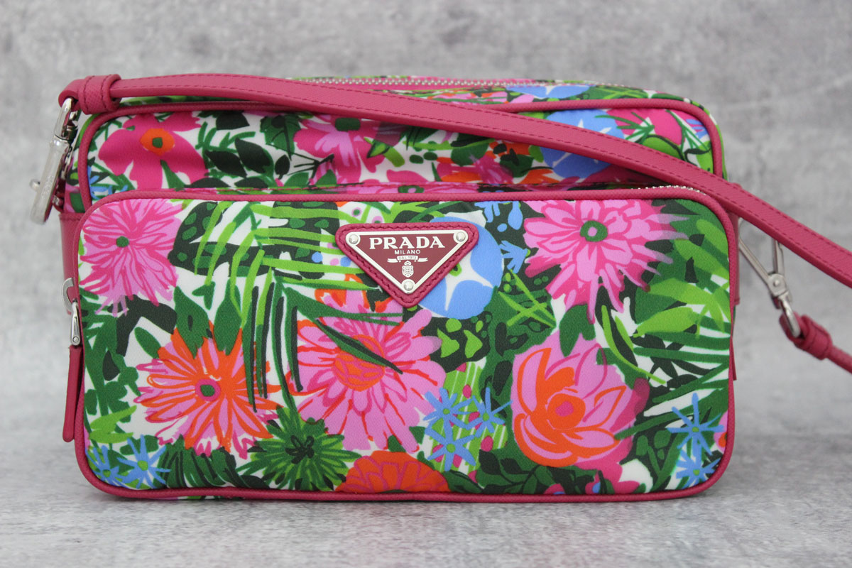 Prada Tessuto Printed Crossbody Camera Bag Pink Floral At Jillu0026#39;s Consignment
