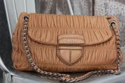 Prada Nappa Leather Gaufre Flap Bag Natural
