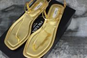 Prada Gold Leather T-Strap Thong Sandals 8