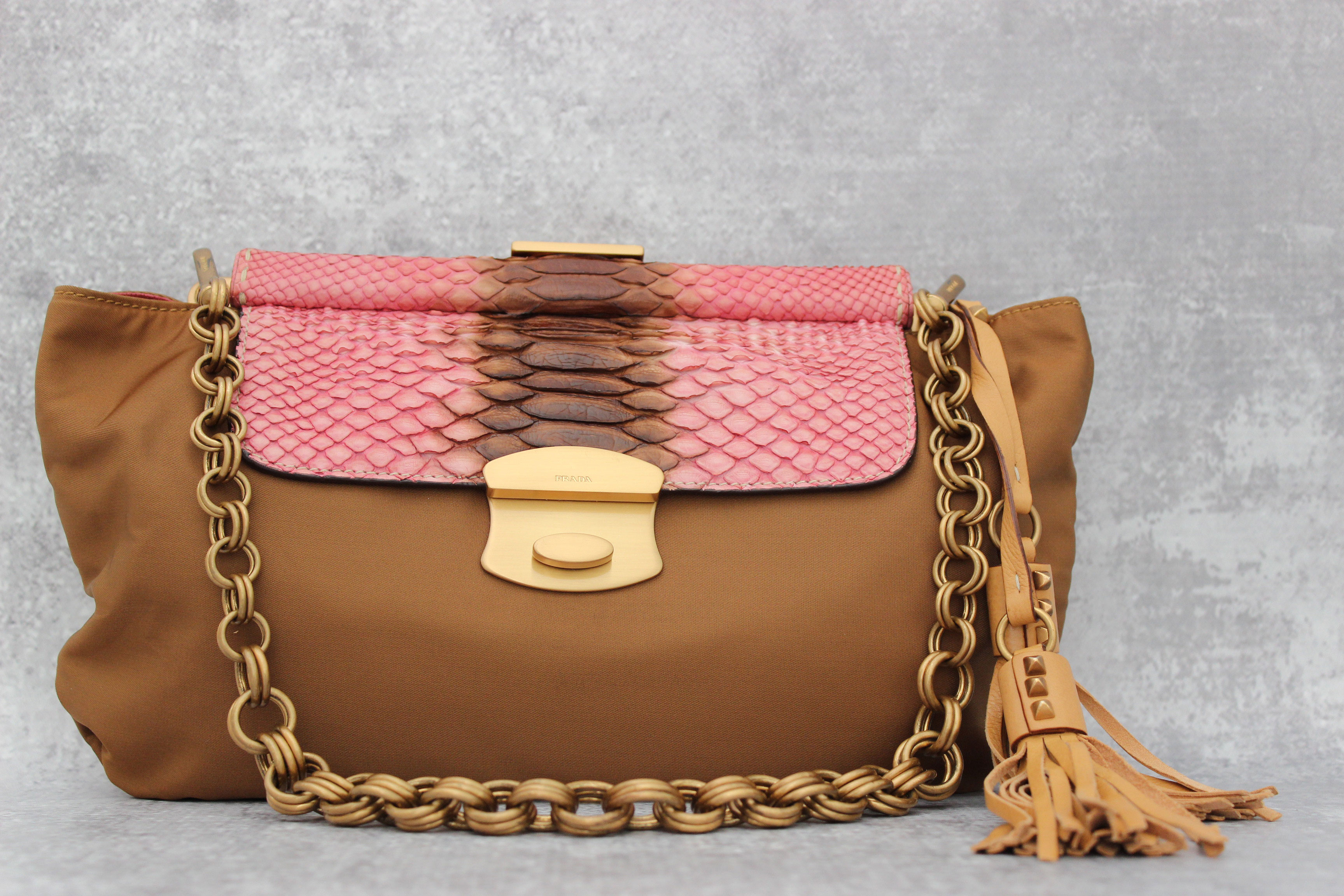 285830a190ee6f Prada Tessuto Nylon & Python Shoulder Bag at Jill's Consignment