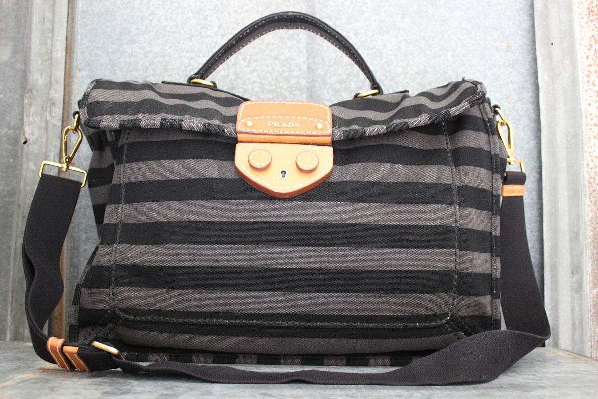 navy blue prada handbag - Prada Unisex Black \u0026amp; Grey Striped Canvas Messenger Bag