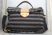 Prada Unisex Black & Grey Striped Canvas Messenger Bag