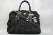 Prada Tessuto Nylon Gauffre Ruched Shoulder Bag