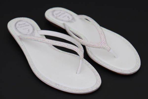 Rene Caovilla White Crystal Thong Sandals