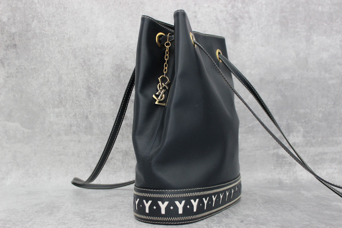 7875a2599cad Yves Saint Laurent Vintage Navy Blue Y Bucket Bag at Jill s Consignment