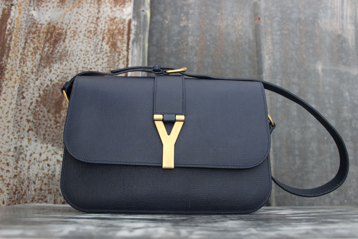 Yves Saint Laurent YSL Navy Leather Cabas ChYc Y Flap Bag