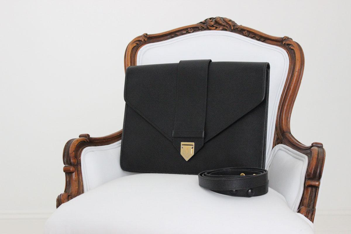 Yves Saint Laurent Ysl Black Caviar Leather Business