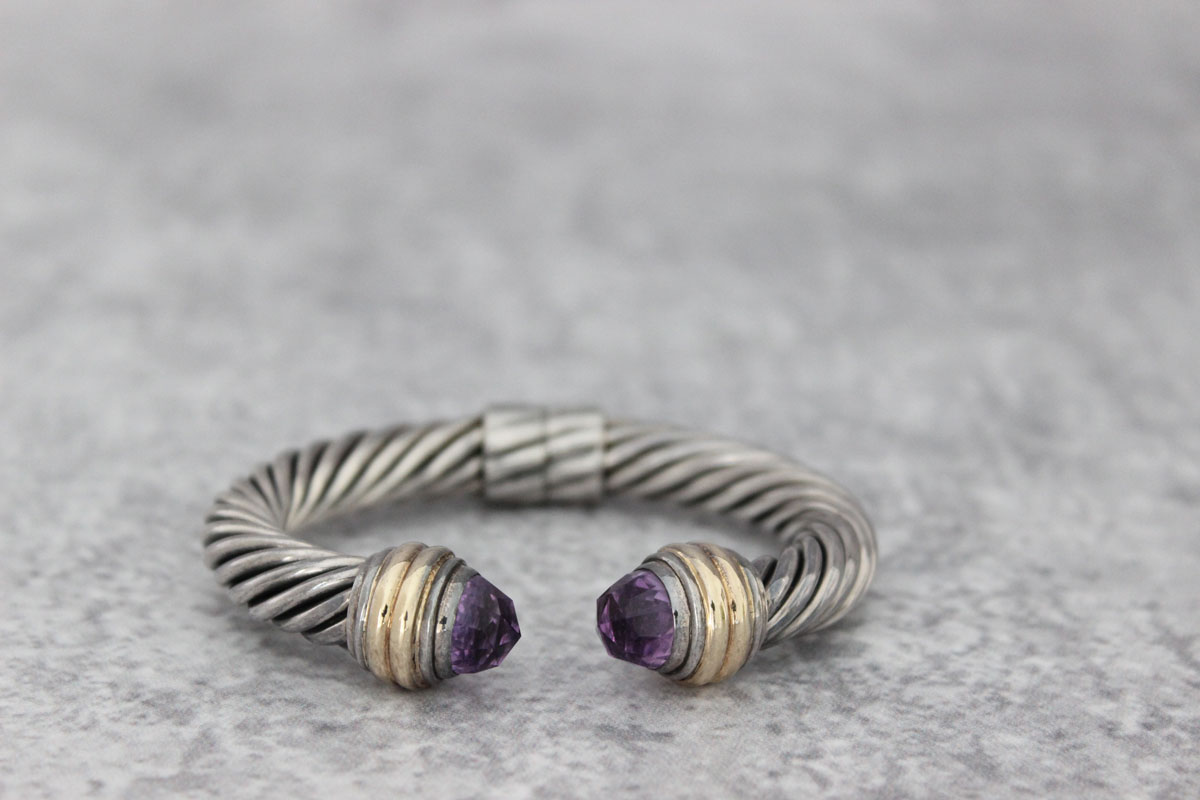 David Yurman 10mm Amethyst Cable Cuff Bracelet Tap To Expand