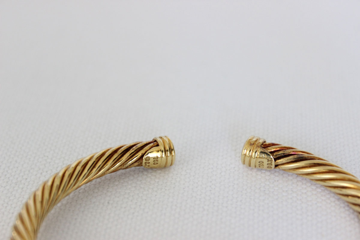 David Yurman 18k Yg Diamond Cable Cuff At Jill S Consignment