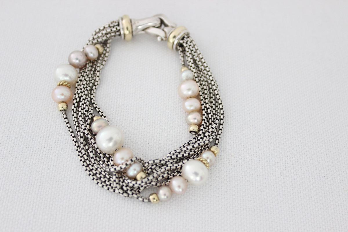 David Yurman 8 Strand Box Chain Pearl Bracelet Tap To Expand