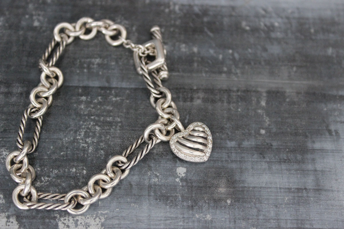 David Yurman Figaro Pave Diamond Cable Heart Charm Bracelet