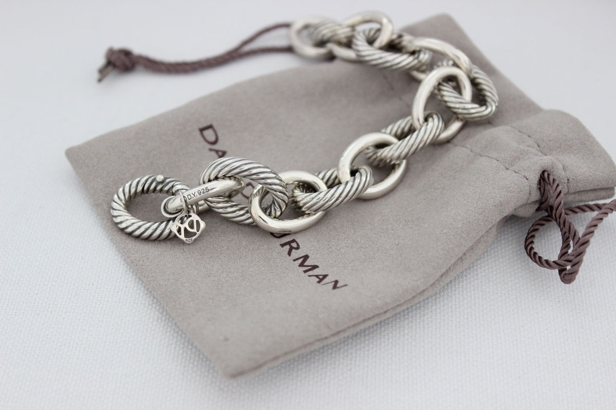 541eb7e53 David Yurman Sterling Silver Oval Chain Link Bracelet Extra Large. Tap to  expand
