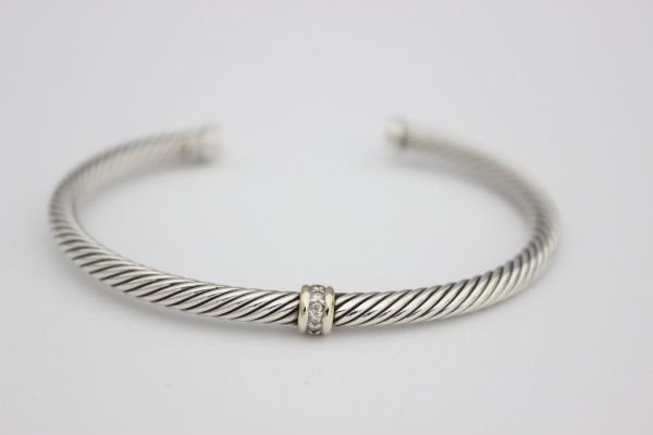 David Yurman Pave Diamond Cable Cuff Bracelet