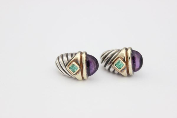 David Yurman Amethyst & Green Tourmaline Renaissance Earrings