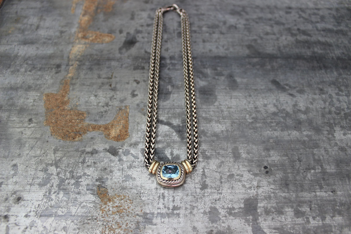 David Yurman Double Wheat Chain Blue Topaz Necklace